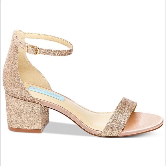 Betsey Johnson Champagne Glitter Heels